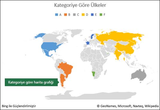 Kategoriye Göre Excel Harita Grafiği