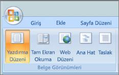 Belge görünümleri grubunda ekran görüntüsü yazdırma düzeni öğesinin seçili olduğu gösterilir. Diğer seçenekler kullanılabilir tam ekran okuma, Web düzeni, anahat ve taslak seçenekleridir.
