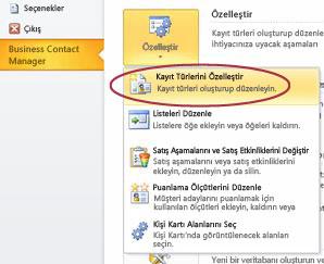 Outlook Backstage görünümünde Business Contact Manager Kayıt Türlerini Özelleştir komutu