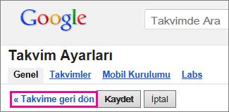 google takvim - takvime dön'ü tıklatın