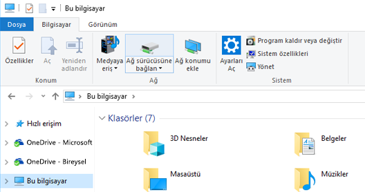 Dosya Gezgini'nin ekran görüntüsü