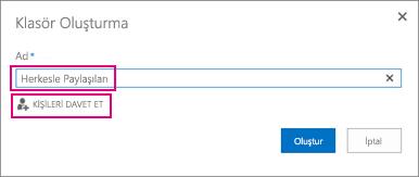 OneDrive İş'te Herkesle paylaşılan klasörünü seçin