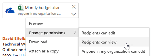 Alıcılar için seçeneğinin ekran görüntüsü Değiştir izinleri menüyü görüntüleyebilirsiniz