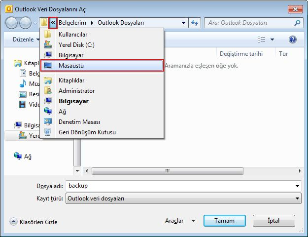 Specify the file location using the Open Outlook Data File dialog box.