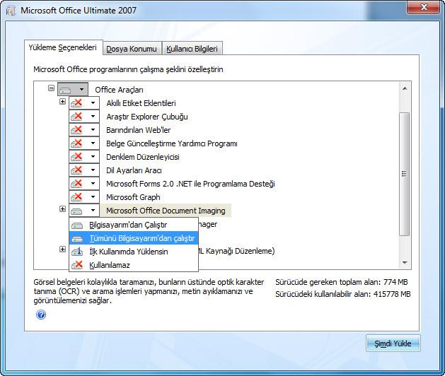 2007 Office sistemi yüklemesi sırasında MODI konumunu gösteren ekran görüntüsü: