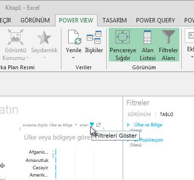 Filtreler simgesi bir Power View görselleştirmesinin üzerine geldiğinizde görünür
