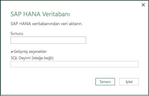 Excel Power BI SAP HANA Veritabanı içeri aktarma iletişim kutusu