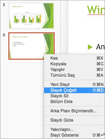 Ekran görüntüsünde seçili slayt ve sağ tıklama menüsünde seçili olan Slayt Çoğalt seçeneği gösterilir.