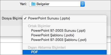 Mac için PowerPoint 2016'da Farklı Kaydet iletişim kutusunda dosya biçimleri listesinde PDF seçeneğini gösterir