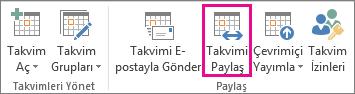 Outlook 2013 Giriş sekmesinde Takvimi Paylaş düğmesi