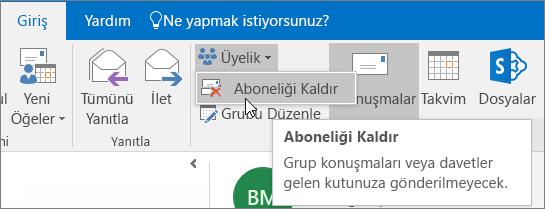 Kullanıcılar bir grubun aboneliğinden çıkabilir ve bu durumda e-postalar artık gelen kutularına gönderilmez.