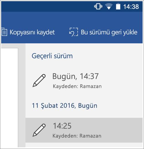 Android 'de önceki sürümleri geri yüklemek için geçmiş seçeneğinin ekran görüntüsü.