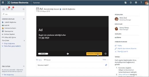 Yammer Live etkinliği ilk kurulum ekranı
