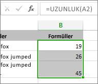 Grafik için örnek veriler