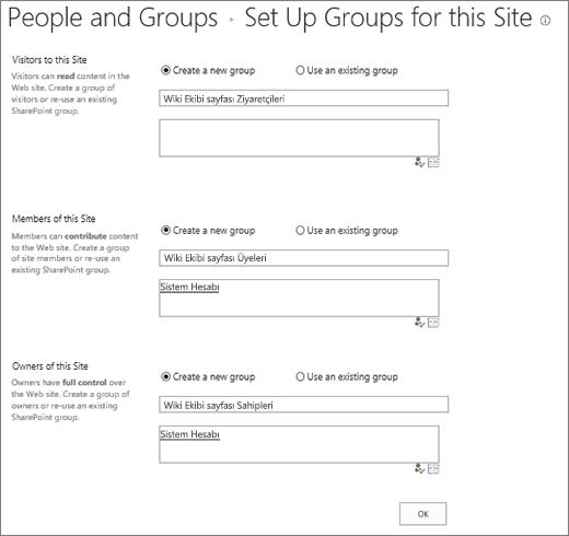Gruplar site iletişim kutusu için ayarlama