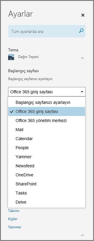 Office 365 başlangıç sayfanızı değiştirme