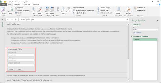 Sorgu Düzenleyicisi içinden İşlev çağırma için Excel Power BI Satır İçi Giriş denetimleri