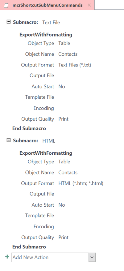 İki alt makroyla Access 'teki makronun ekran görüntüsü