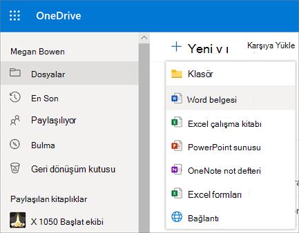 OneDrive İş'te yeni dosya veya klasör menüsü
