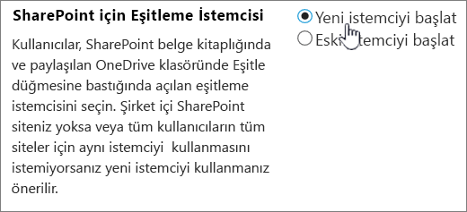 OneDrive eşitleme istemcisi için yönetici ayarı