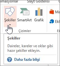 PowerPoint Ekle Şekiller düğmesi