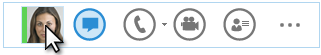 İmlecin kişi resminin üzerinde duraklatıldığı Hızlı Lync menüsünün ekran görüntüsü