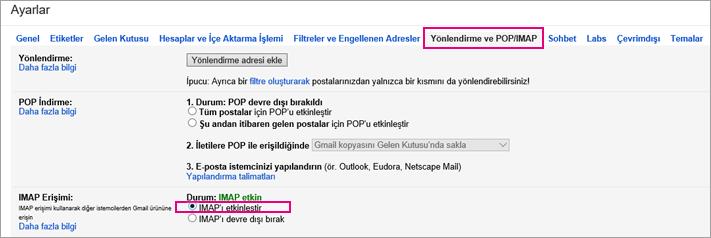 Gmail'de, POP ayarlarınızı seçmek için Yönlendirme ve POP/IMAP'i seçin.