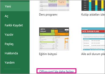 Office.com'dan Daha Fazla seçeneğine tıklayın