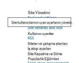 Site Yönetimi site ayarları kullanıcı uyarı bağlantısı