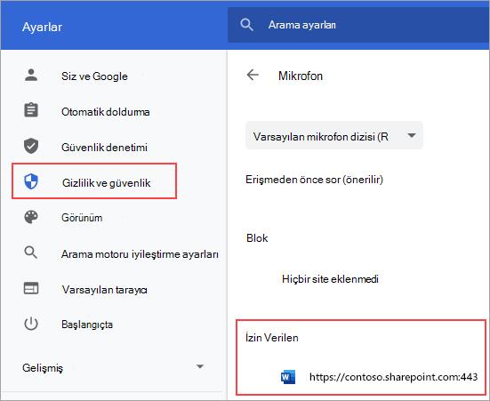 Chrome için mikrofon izinleri ayarlar sayfası