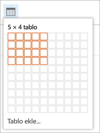 Web üzerinde Outlook'ta basit tablo ekleyin.