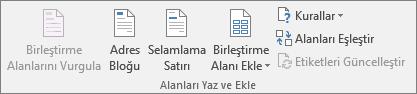 Alanları Yaz ve Ekle grubu, birleştirilmiş belgeye alan eklemenize olanak tanır.