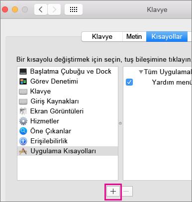 Office Mac 2016 özel klavye kısayolu
