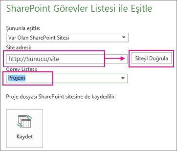 SharePoint'e proje kaydetme
