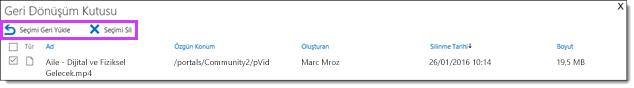 Office 365 Video geri yükleyin veya videoyu silme
