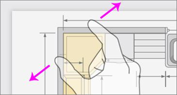 Baş parmağını ve işaret parmağını kullanarak görüntüyü uzaklaştıran el