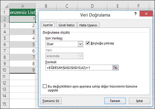 Örnek 4: Veri doğrulamada kullanılan formüller