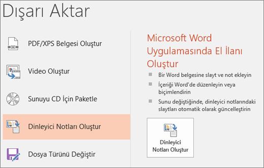 Dosya > Dışarı Aktar > Dinleyici Notları Oluştur'u gösteren PowerPoint kullanıcı arabiriminin ekran kırpması