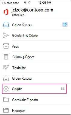 Mobil Outlook'taki klasör listesinde düğümüne olduğu grupları