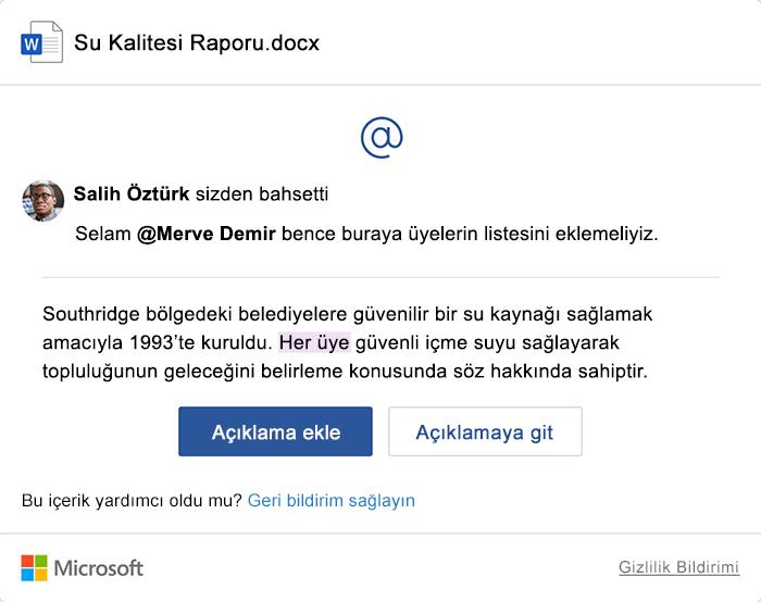 Yorumları içeren örnek @bahsetmeler e-posta bildirimi.