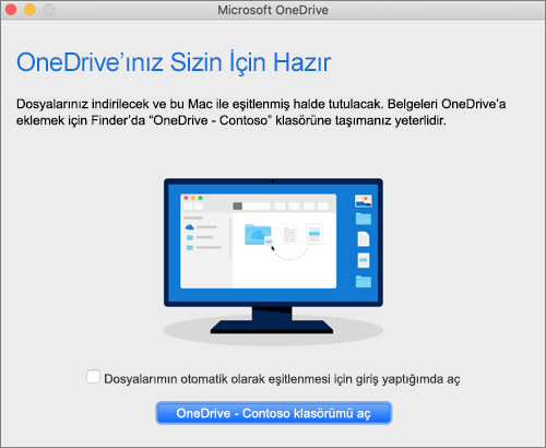 Mac'teki OneDrive'a Hoş geldiniz sihirbazının son ekranın görüntüsü