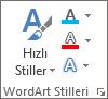 Yalnızca simgelerin gösterildiği WordArt Stilleri grubu