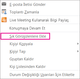 Sık Kullanılanlara Ekle işlevi vurgulanmış ekran görüntüsü açılır listesi