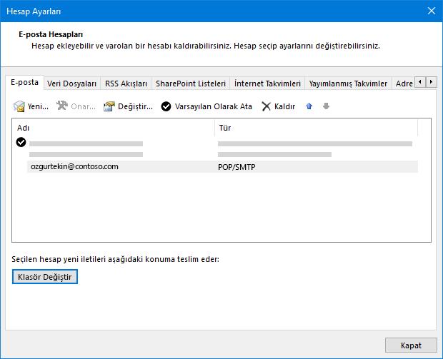 Outlook hesap ayarları iletişim kutusu