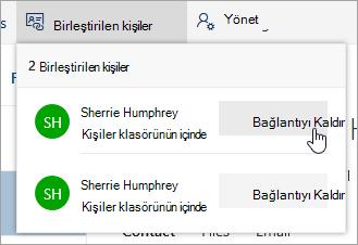 Bağlantılı Kişiler menüsünde bağlantıyı Kaldır düğmesinin Ekran görüntüsü