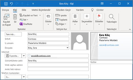 Outlook'ta kişi ekleme
