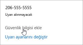 Güvenlik bilgi Ekle düğmesinin Ekran görüntüsü.