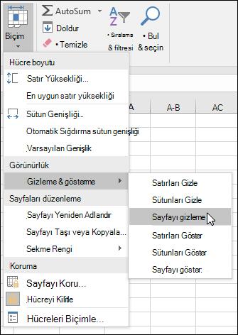 Gizlediğiniz çalışma sayfalarını ve evden gösterme > hücreleri > biçim > görünürlük > Gizle ve Göster