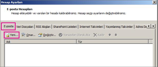 Hesap Ayarları iletişim kutusundaki E-posta sekmesinin ekran görüntüsü.