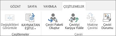 Hedef site değişimler sekmesinin ekran görüntüsü. Sekme, değişim ve çeviri şeklinde iki grup içerir